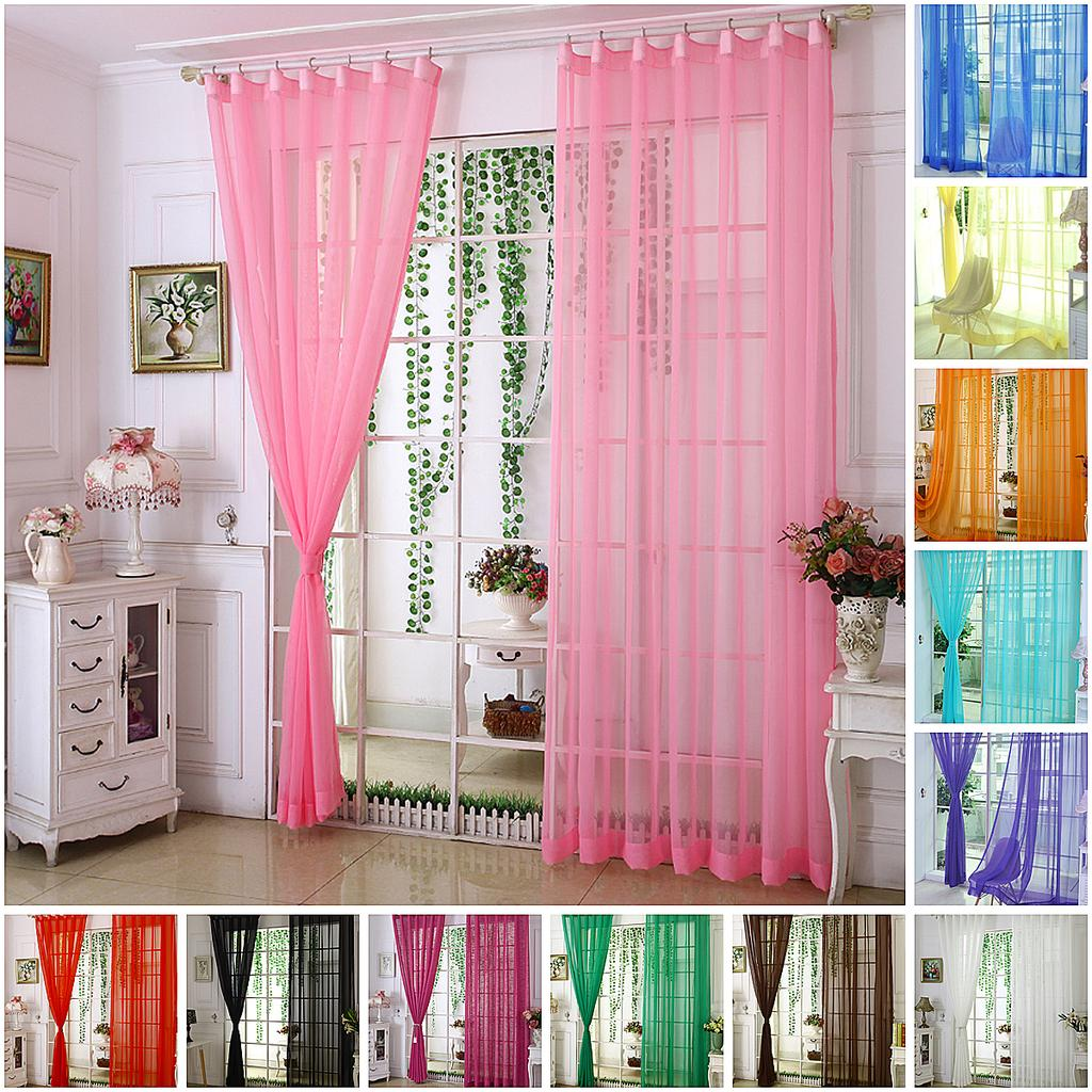 Short Curtain Floral Jacquard Sheer Drapes Tulle Window Transparent Panels Decor