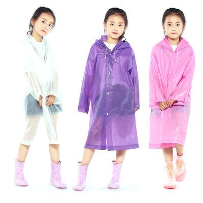 Kids Children Clear Hooded Rainsuit Raincoat Long Rain Poncho Rainwear W// Button