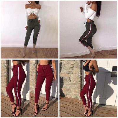 9c1c561a69 Pantalones casual cintura lado Tie otoño Fitness alta rayas pantalones  bolsillos mujeres primavera mujer ropa