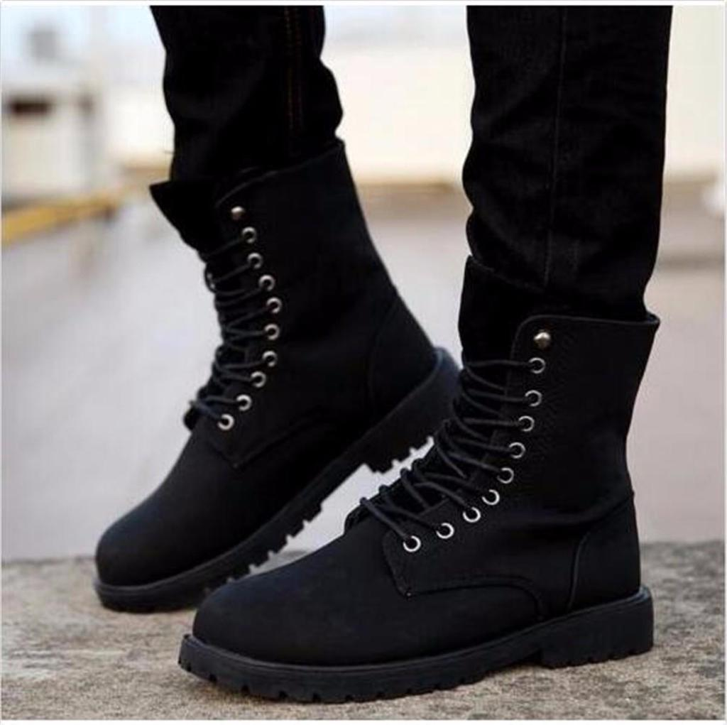 8ae8b2b7b7cd7 Combat boots nis men high top winter military lace up fashion shoes
