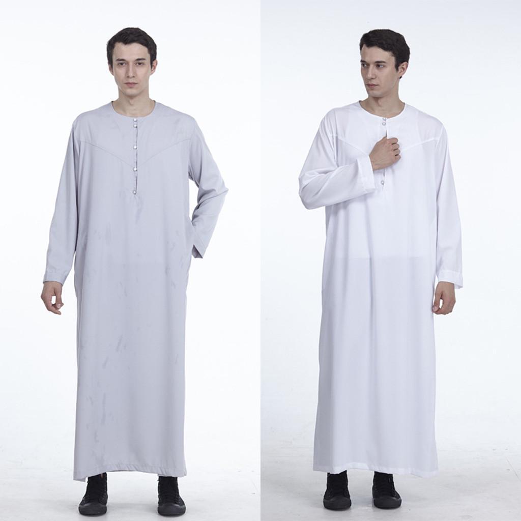 Mens Islamic Abaya Arab Long Sleeve Muslim Dishdash Thobe Long Robe Tunic Dress
