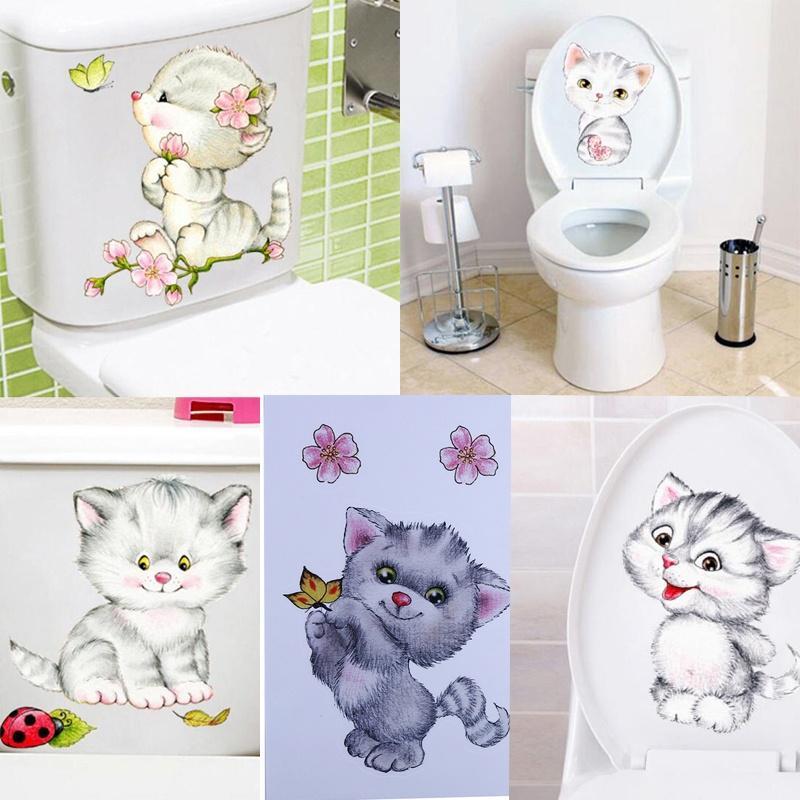 Удаление стены наклейки мультфильм Cat Туалет наклейки водонепроницаемый самоклеящиеся картины фото