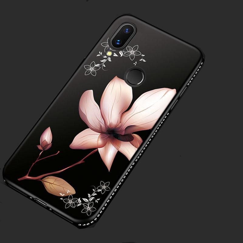 ^ azul diamante pedrería patrones bling flores silicona para Xiaomi redmi 6