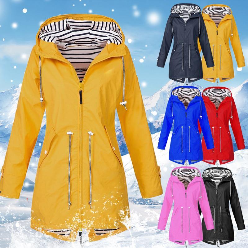 Плюс размер женщин твердых Открытый водонепроницаемый капюшон куртки Зима Длинные рукава куртки Тонкий пальто – купить по низким ценам в интернет-магазине Joom