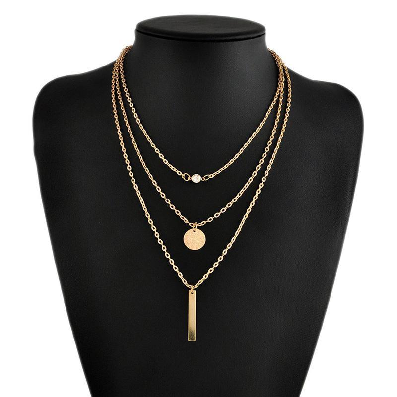 Женщины простые ожерелье геометрические многослойных металл бар блестками короткие ключицы цепи подарок фото