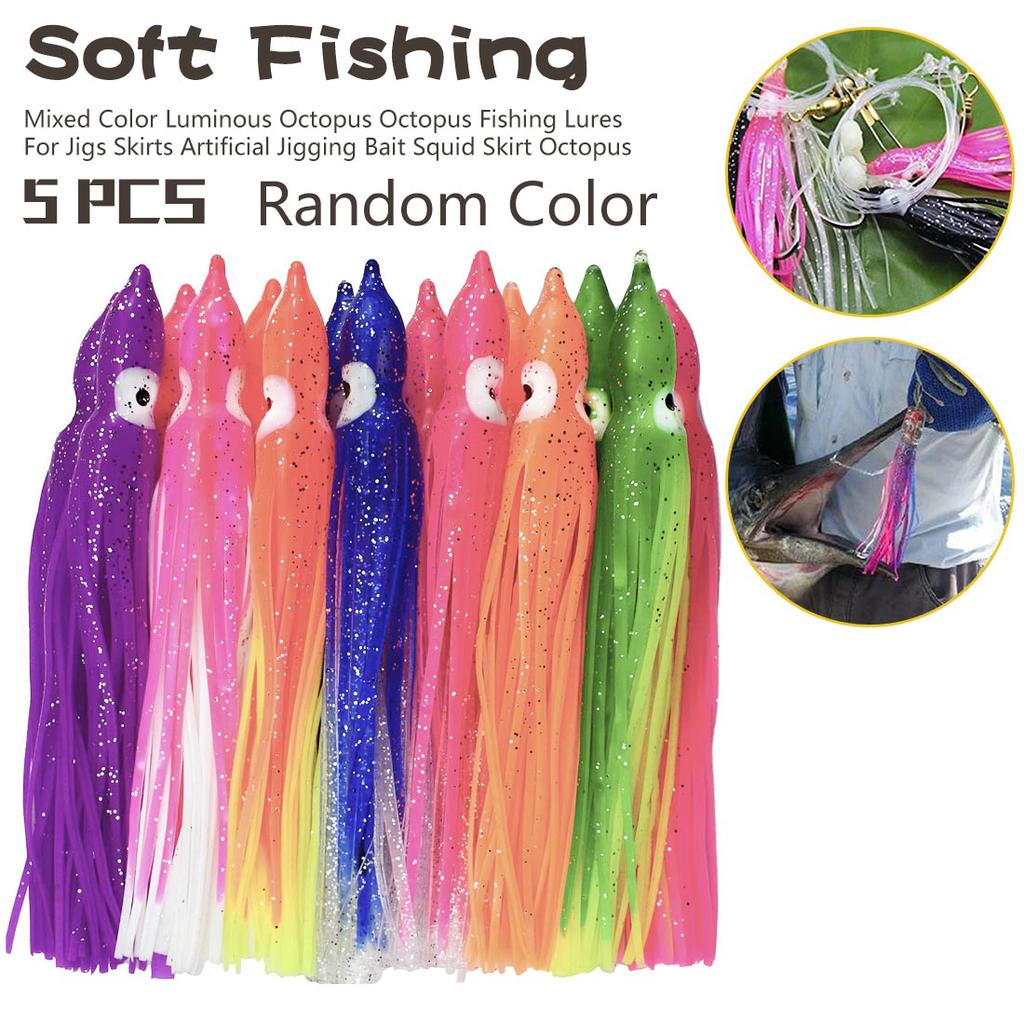 Soft Fishing Bait  Mixed Color Octopus   Artificial Lures For Jigging  8-9 CM Long  50x Pieces  Mixed Colours