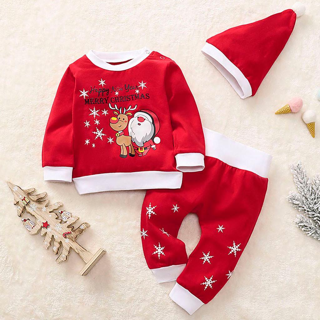 Newborn Baby Boy Girl Christmas Jumpsuit Unisex Infant Kids Long Sleeve Elk Winter Rompers Animal Hooded Bodysuit Sleepwear Clothes with Cartoon Santa 0-24 Months