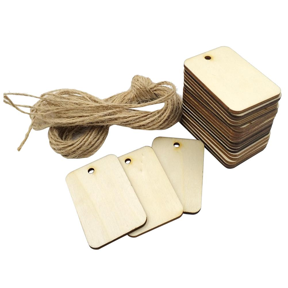 25PCS//50PCS Blank Gift Hanging  Party Favor Wedding Wooden Tags Scrapbooing Rope