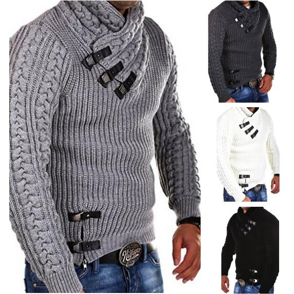Осенне-зимний новый мужской свитер с воротником и длинным рукавом, мужской  вязаный свитер купить недорого — выгодные цены, бесплатная доставка,  реальные отзывы с фото — Joom
