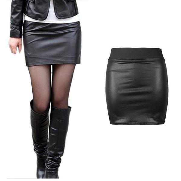 Сексуальная мини юбка-карандаш с высокой талией, из искусственной кожи фото