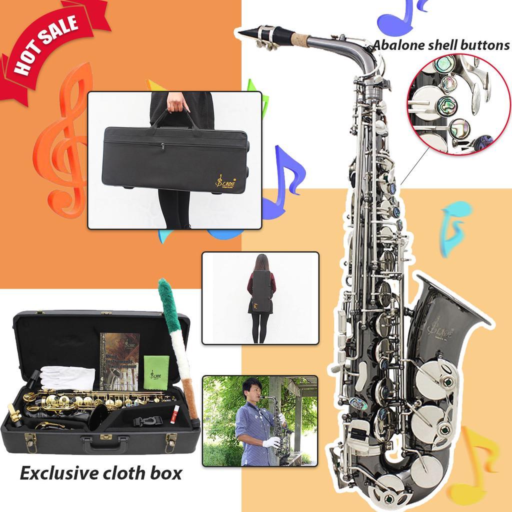 Mendini Black Nickel Körper mit silbernen Tasten Alt-Saxophon Sax ...