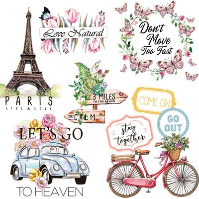 Colorful Flower Butterfly Patches Sticker On Clothes DIY Washable Iron On Transfers For Clothing Fashion Decoration Appliqued Decor
