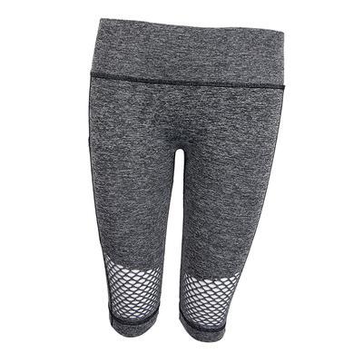 f08462f9ed0d7 Женщины стрейч Сетка карман тренажерный зал тощий йога середине шорты  половины брюки S серый