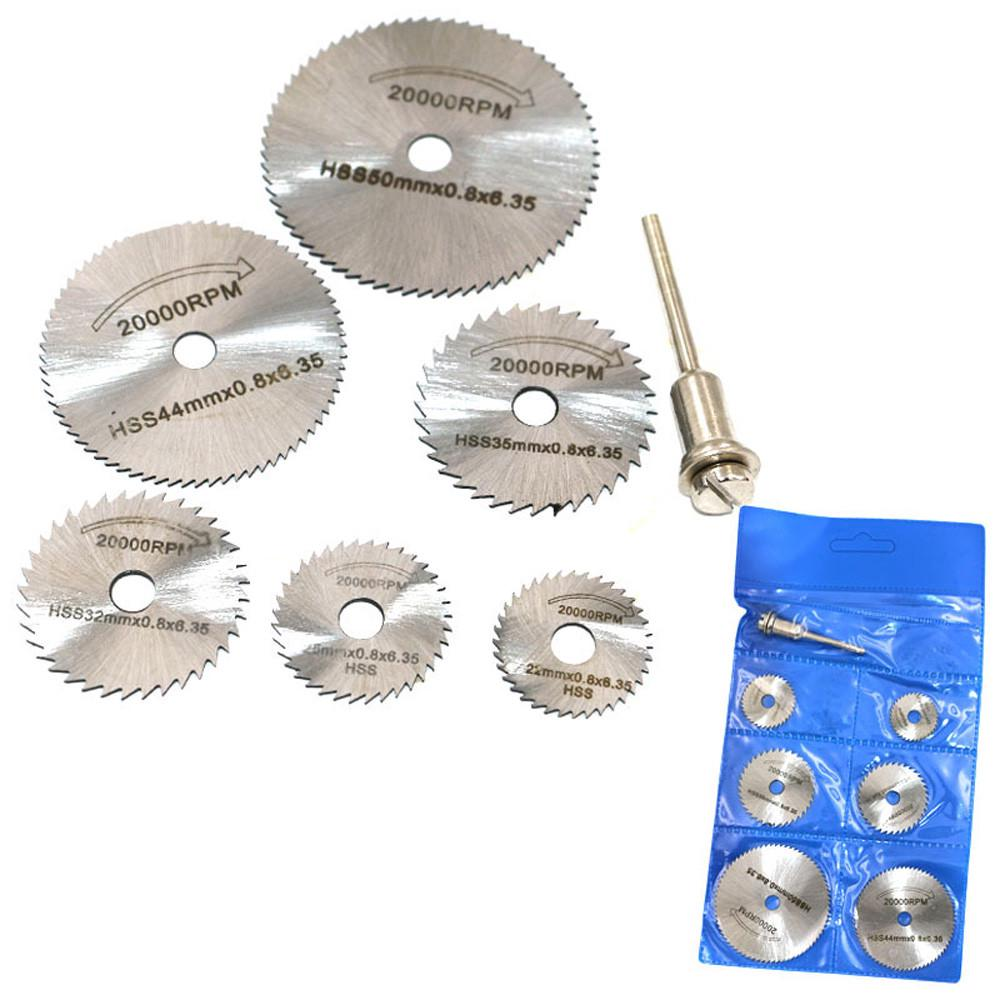 6pcs HSS Saw Disc Wheel Cutting Blades For Drills Rotary Tools and Mandrel NEW