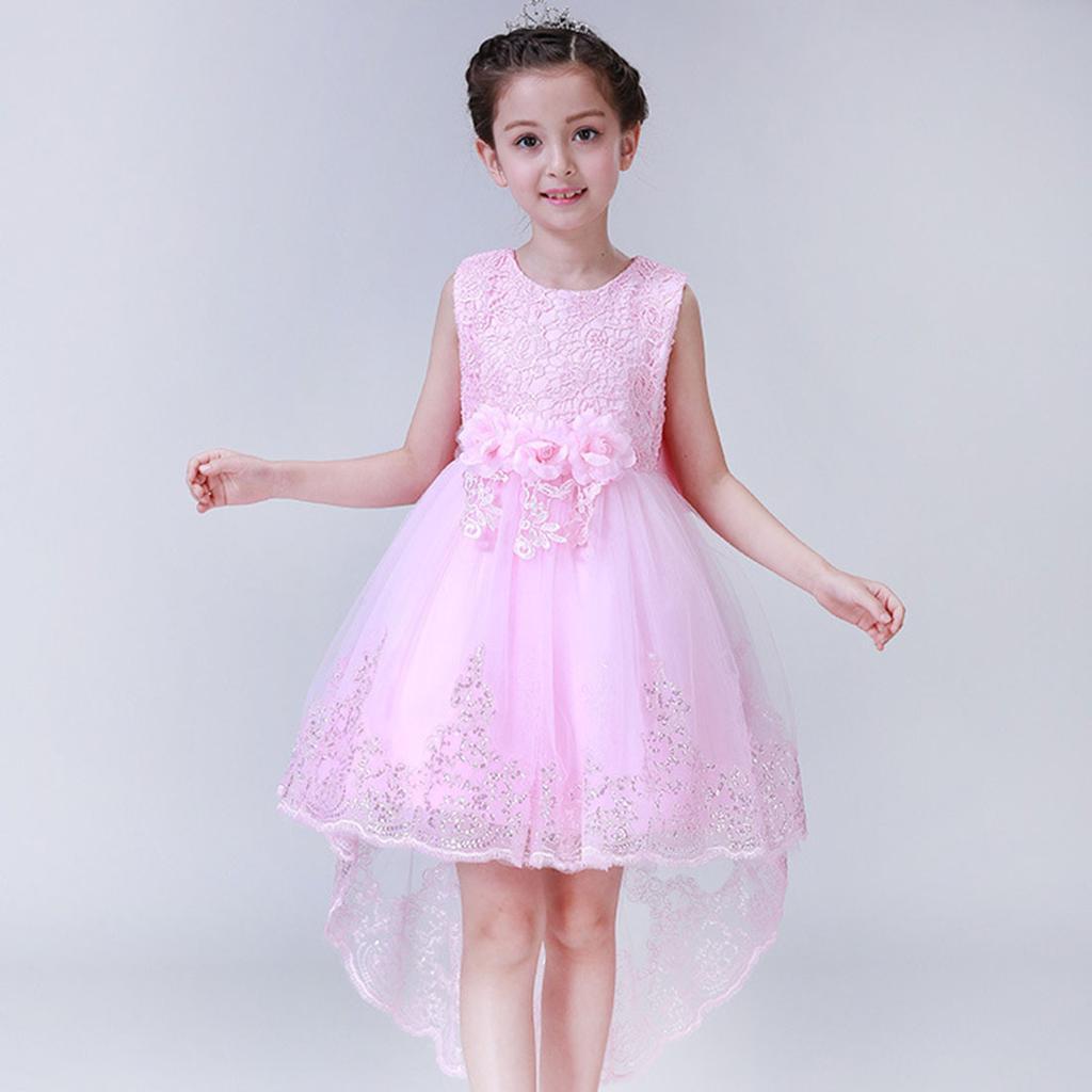 Niños niñas desfile de fiesta de boda princesa elegante vestido sin ...