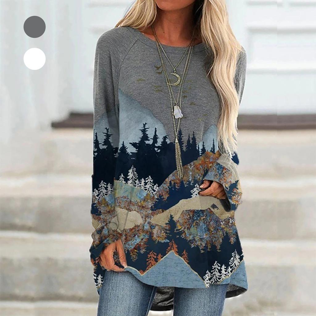Женщины Дерево Рукав футболка Гора O-Neck Печать Случайный Pullover Top – купить по низким ценам в интернет-магазине Joom
