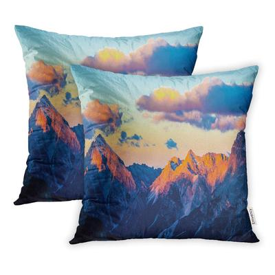 Blue Winter Mountain Forest Sunset Landscape Panorama Snow View Colorful Beauty Pillowcase Cushion Case 16x16inch 40x40cm Set Of 2 Buy At A Low Prices On Joom E Commerce Platform