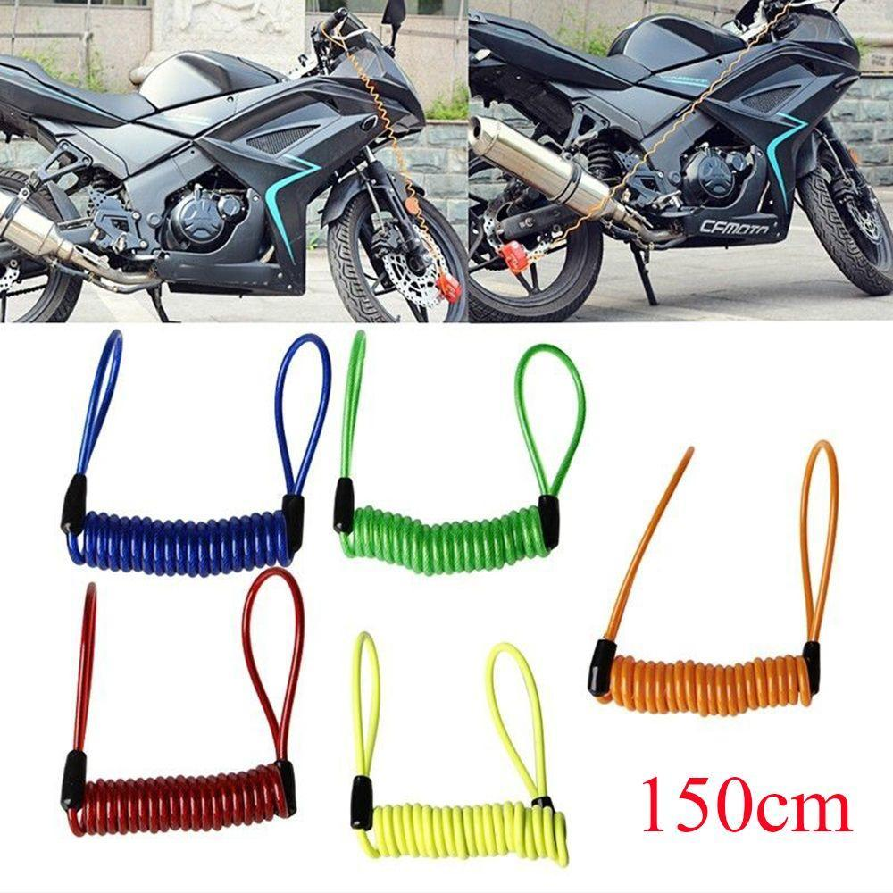 Portable /&Anti-theft Motorcycle Wheel Disc Lock Spring Rope,150cm Cable
