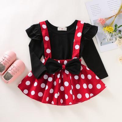 Toddler Baby Girls Summer Clothes Sets Polka Dot Ruffled Short Sleeve Skirt Set 2Pcs