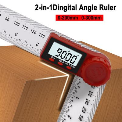 """2 In 1 Electronic Digital Angle Finder LCD 200mm 8/"""" Protractor Ruler Goniometer"""
