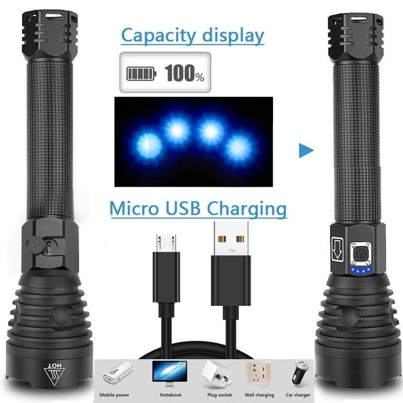 LED Flashlight 3*XHP90 Torch USB Rechargeable Waterproof Lamp Ultra Brigh