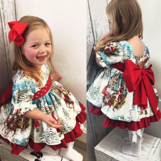 Toddler Kids Baby Girl Christmas Xmas Flared Party Santa Swing Dress Clothes US