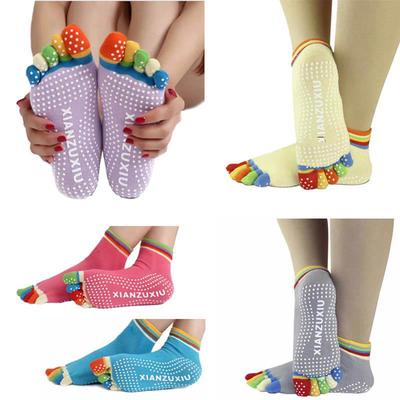 Unisex Yoga Socks Non Slip Pilates Massage 5 Toe Socks with Grip Exercise Gym