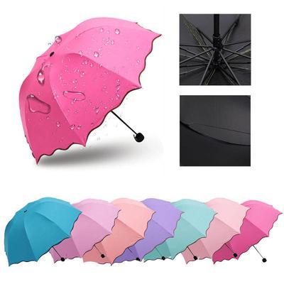 Umbrella Simple Fashion Women  Windproof Sunscreen Magic Flower Dome Ultraviolet-proof Parasol Sun