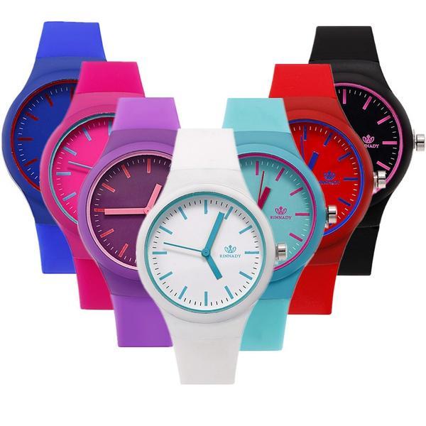 Женщины мода силиконовые ремешок аналоговый кварцевые часы дамы роскошные платья Часы подарок фото