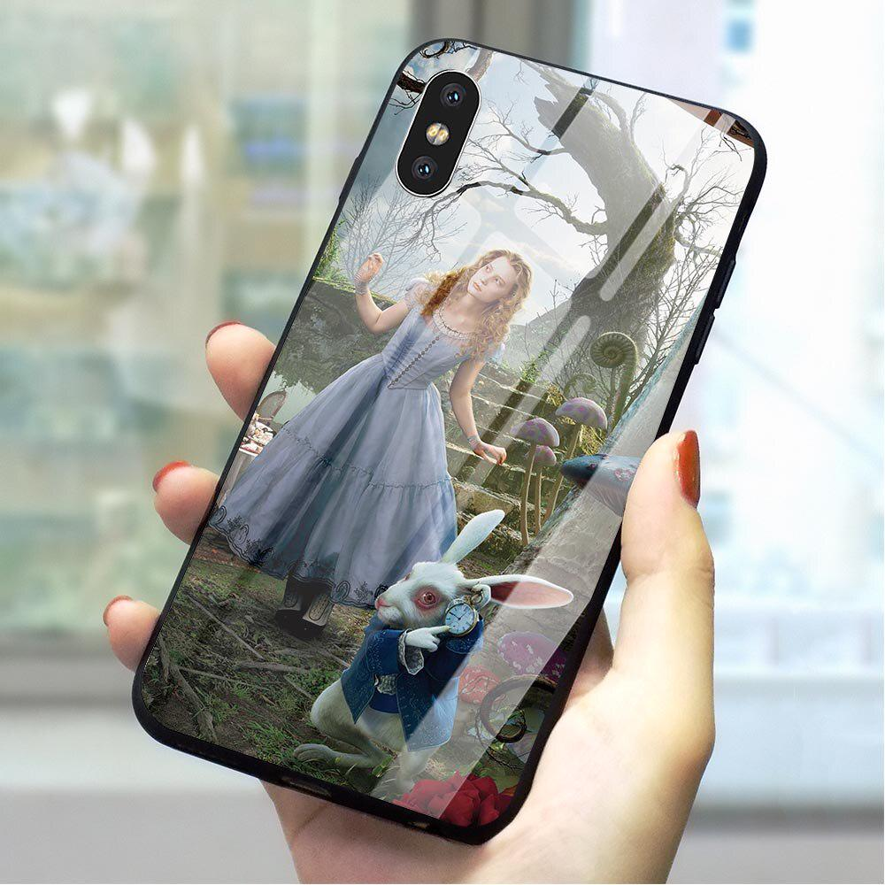 Alice In Wonderland Cat HD Tempered Glass Case Back Cover for Huawei Xiaomi iPhone