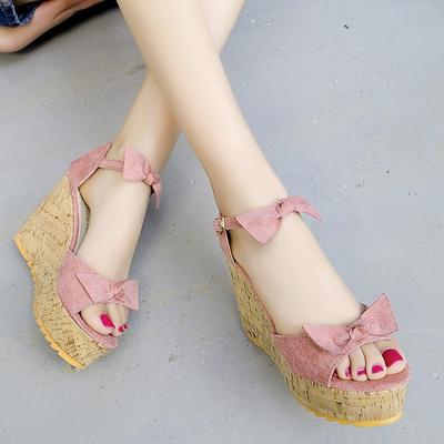 129dee008 Summer Waterproof Slope with Sandals Leather Sweet Muffin Bow Fish Mouth  Shoes