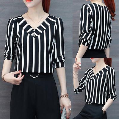 Suda Women Three Quarter Sleeve Blouse Leisure Stripe Office Lady Shirts Tops