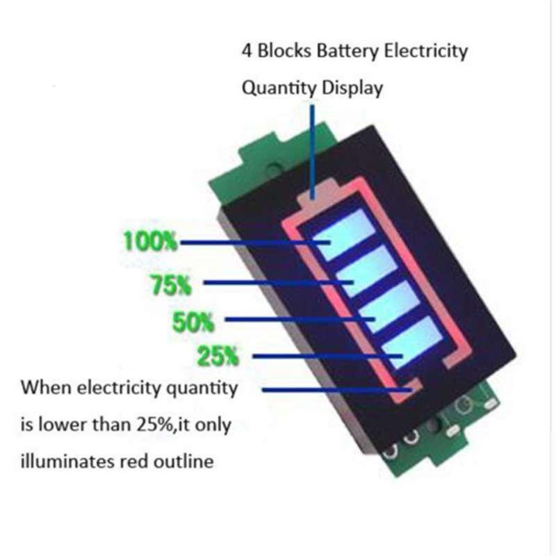 1//3//5PCS 3S Lithium Battery Capacity Indicator 12.6V Blue Display Power Tester