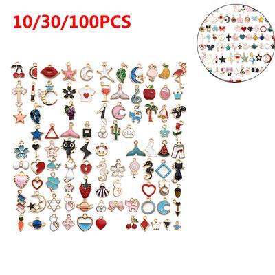 10/30/100Pcs Fashion DIY Mixed Style Enamel New Cartoon Beads Pendants Charms Jewelry Making Craft