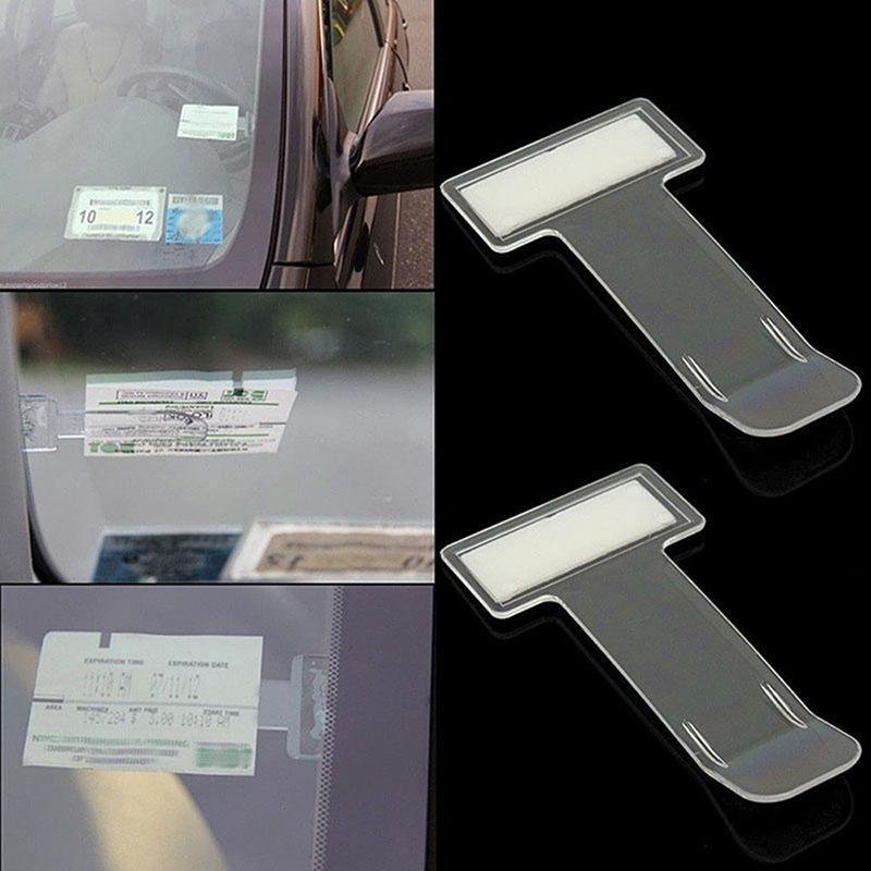 5pcs Car Vehicle Parking Ticket Permit Card Holder Clip Window Sticker Portable