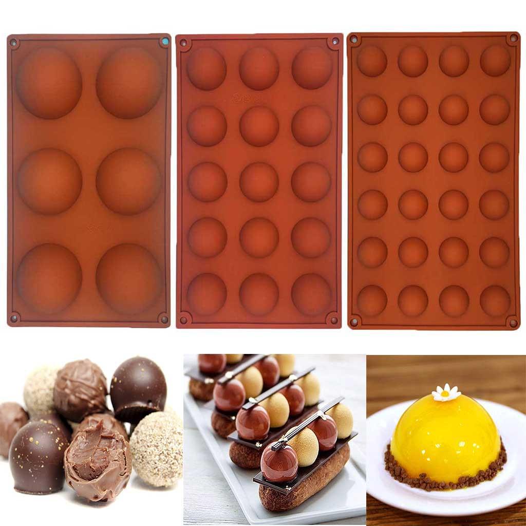 6 Half Ball Silicone Cake Mold Semi Sphere Muffin Chocolate Baking Mould