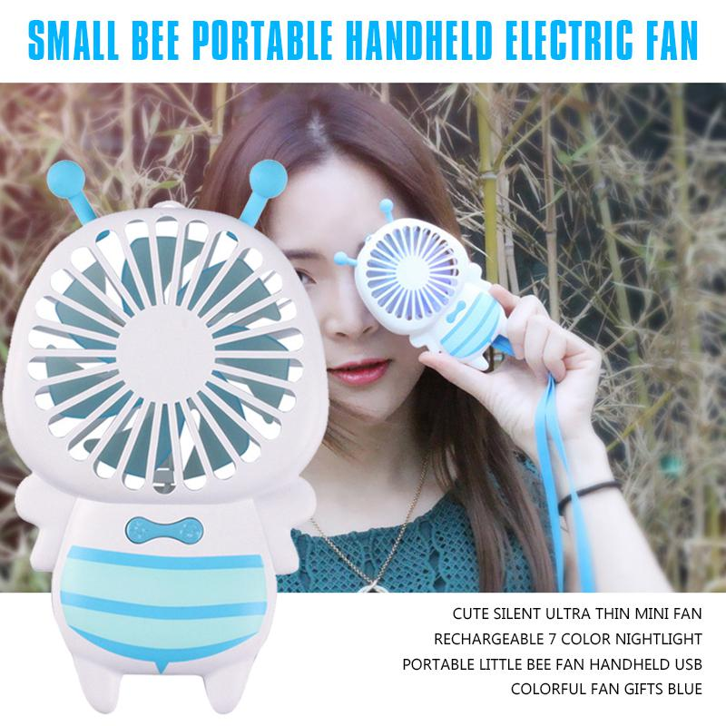 Mini USB Table Desk Personal Fan Summer Rechargeable Portable Bees Small Fans Mute Quiet Handheld Metal Design Quiet Operation USB Cable Fan Color : Pink
