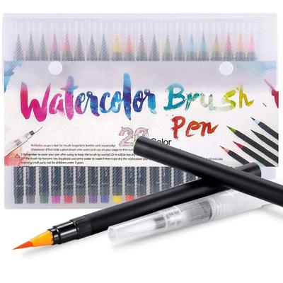 Watercolor Brush Pen 20 Color Set Paint Markers with Flexible Nylon Brush Tips for Coloring Drawing