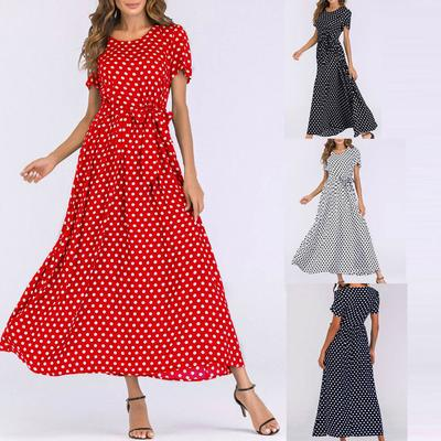 Suda Fashion Women O-Neck Short Sleeve Beach Polka Dot Bandage Long Maxi Dress