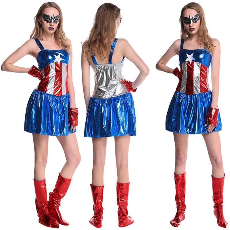 La heroína americana Super héroe mujeres adultos Halloween Traje ... 00489df64446