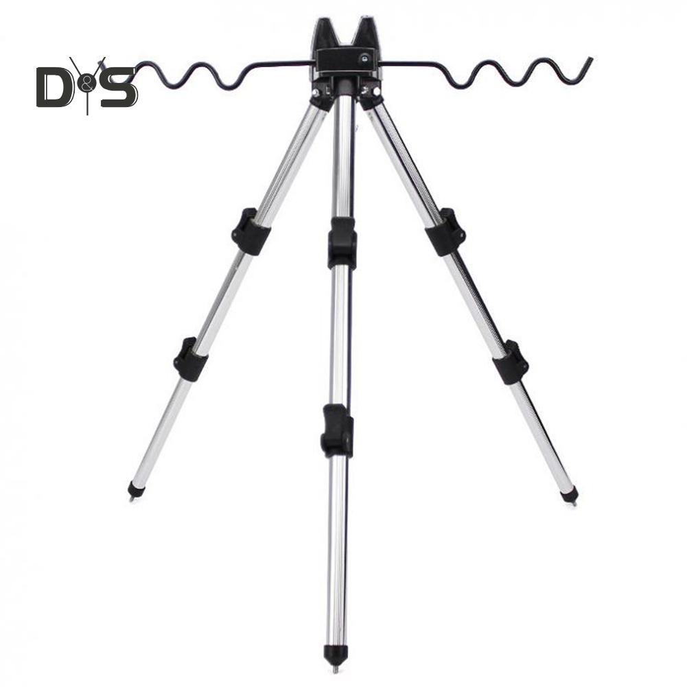 1X Fishing Rod Holder Aluminum Telescopic Tripod Stand For Fishing Poles Black