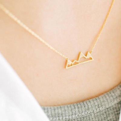 Fashion Women Girl Chic Elegant Geometric Mountain Simple Short