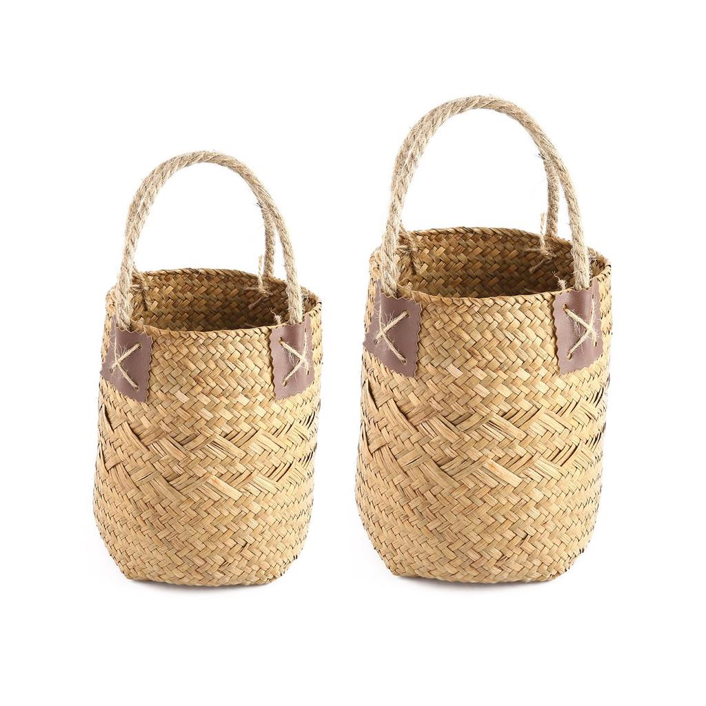 2 PC sistema Seagrass Vintage tejida flor cesta bolsa canasta con ... 9a949c25b608