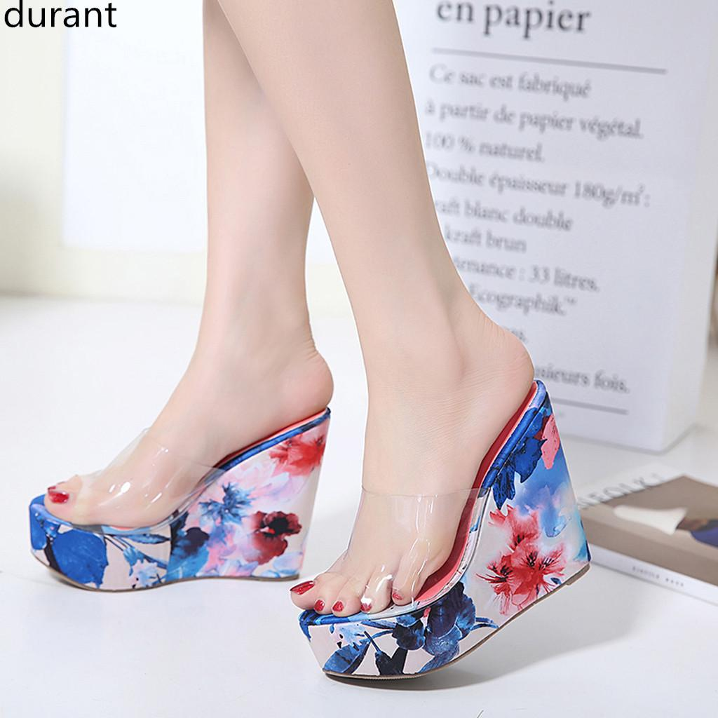 Fashion Transparent Slippers Women/'s Leisure WedgesThick Bottom Round Toe Shoes