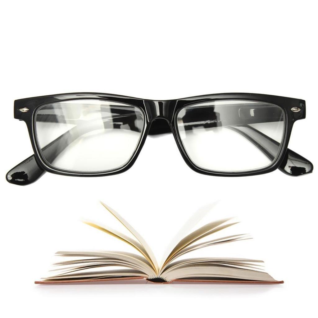 MEN WOMEN LIGHT PRESBYOPIC READING GLASSES CLASSIC BLACK BORDER READER EYEWEAR 15 .