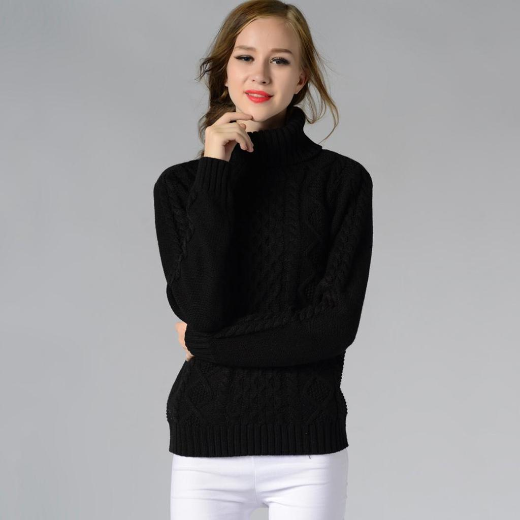 Sweater women turtleneck long sleeve cable knit pullover