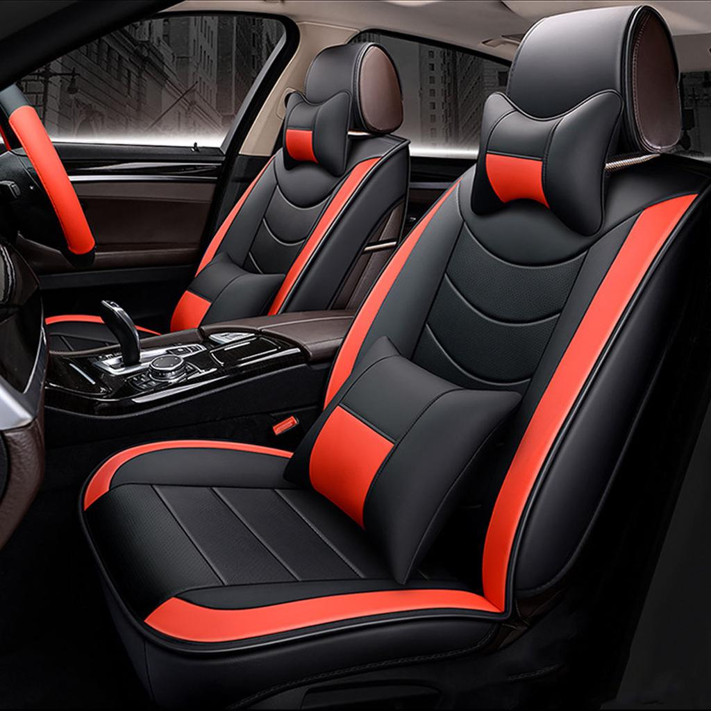 5d 5 Seat Car Pu Leather Front Rear, Car Seat Steering Wheel Covers