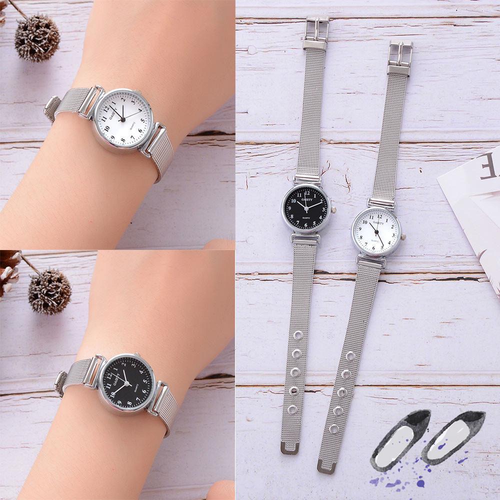 Повседневные женщины Кварц Смотреть Металл сетки Band Аналоговые Wrist Часы фото