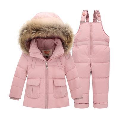 Invierno niños bebé niños pato abajo chaquetas conjunto pantalón-chaqueta  niño Parka con capucha 49722bfb2842