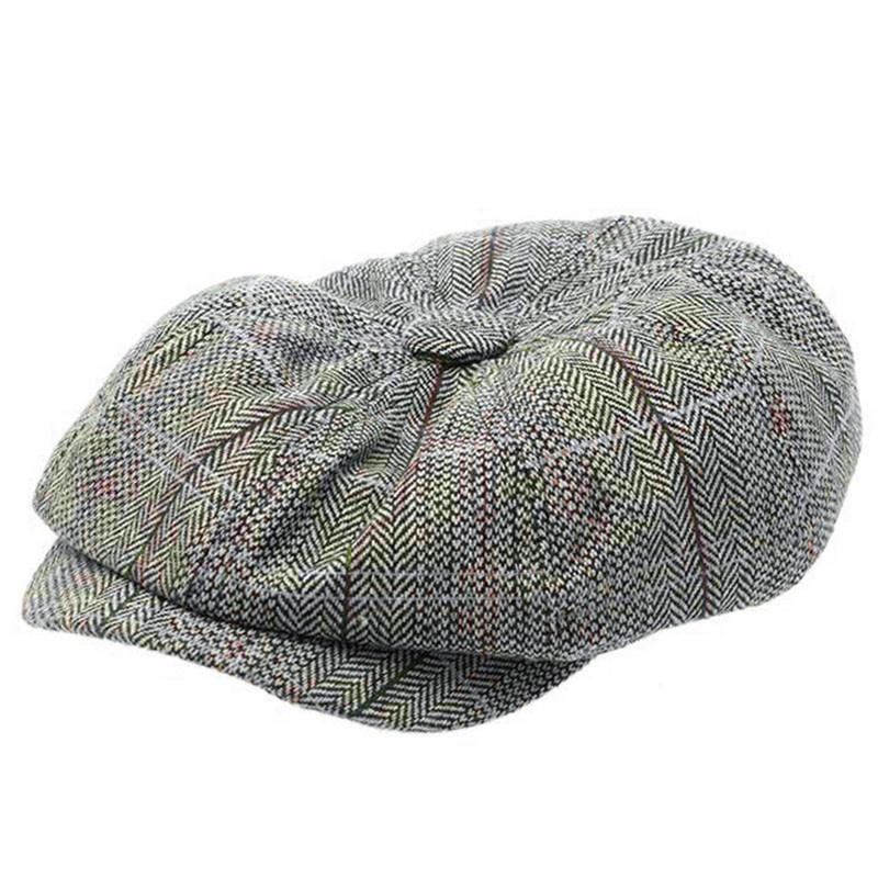 Mens Wool Felt Plaid Newsboy Cap Ivy Hat Driving Flat Cabbie Flat Hat Winter Hats Berets,A